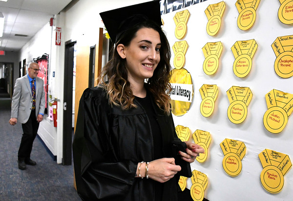 5/16/2018 Mike Orazzi   Staff Mariette Macdonald at the 2018 Bristol Adult Education Graduation Wednesday night held at the Bristol Adult Education Center.