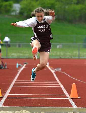 5/16/2018 Mike Orazzi | Staff Bristol Central's Gabby Calfe Wednesday at BC.