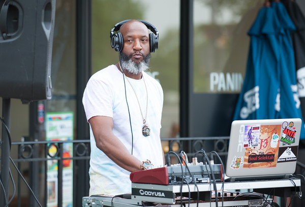 05/17/18 Wesley Bunnell   Staff The New Britain Artists' Co-op held open mic outdoors on Thursday night at KC's on Main. DJ Soul Select.
