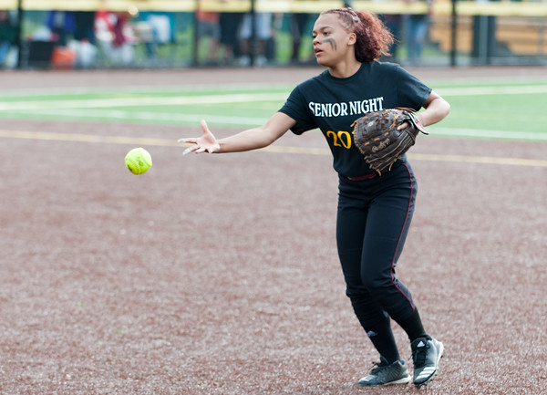 05/17/18 Wesley Bunnell   Staff New Britain softball defeated Wethersfield on Thursday afternoon at Chesley Park. Nariely Andujar (2) tosses to first for the out.