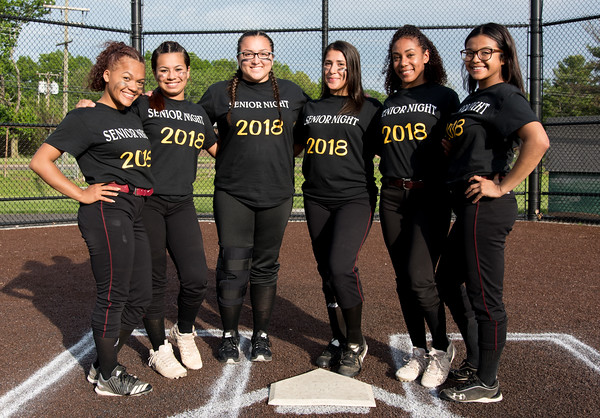 05/17/18 Wesley Bunnell   Staff New Britain softball defeated Wethersfield on Thursday afternoon at Chesley Park. Graduating seniors Nariely Andujar (2), Cristina Velazquez (3), Gabriella Roy (11), Gianna Gonzales (4), Jada Lawson (9) and Chastity Sanchez (1).