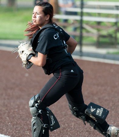 05/17/18 Wesley Bunnell   Staff New Britain softball defeated Wethersfield on Thursday afternoon at Chesley Park. Cristina Velaquez (3) looks a runner back to third.