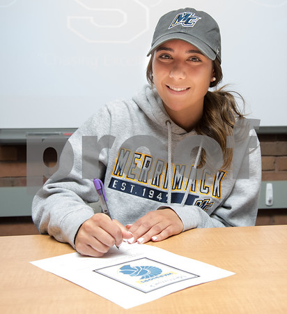 05/02/18 Wesley Bunnell | Staff Southington student athlete Taylor Hubert signing her letter of intent to attend and play soccer for Div. II Merrimack College.