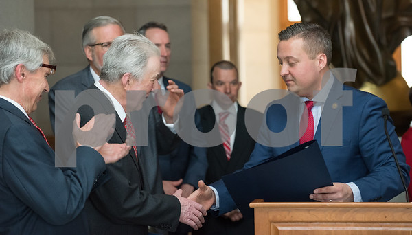 05/02/18 Wesley Bunnell | Staff Polish Day at the Capitol was held on Wednesday morning int he State Capitol to commemorate the 227th anniversary of the Polish Constitution and the 27th anniversary of the event. New Britain resident 2018 Honoree Jan Niebrzydowski, L, lis presented his proclamation by State Rep. J.P. Sredzinski.