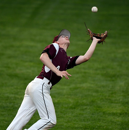 5/2/2018 Mike Orazzi | Staff Bristol Central's Alex Balfour (4) during Wednesday's baseball game at Muzzy Field.
