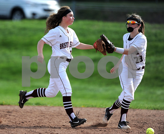5/2/2018 Mike Orazzi | Staff Bristol Central's Jenna Ptak (20) and Kayleigh Dionne (29) during Wednesday's softball with Bristol Central at BE.
