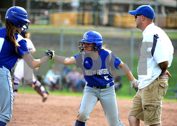 5/2/2018 Mike Orazzi | Staff Bristol Eastern's Lyzah Corliss (9) and Taylor Keegan (6) during Wednesday's softball with Bristol Central at BE.