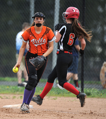 5/3/2018 Mike Orazzi | Staff Terryville's Martina Trovato (9) after a force at first on Wamogo's Mackenzie Harnett (6) during Thursday's softball game with Wamogo in Plymouth.
