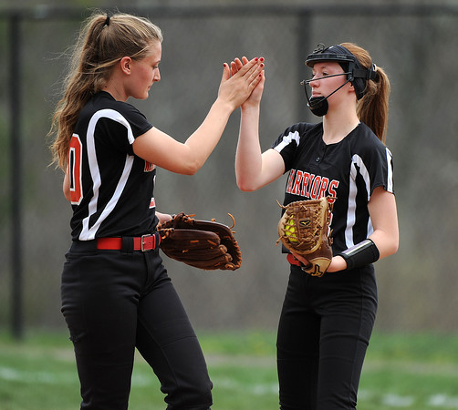 5/3/2018 Mike Orazzi | Staff Wamogo's Cecily Zemaitis (10) and Samantha Sylvester (3) during Thursday's softball game with Terryville in Plymouth.