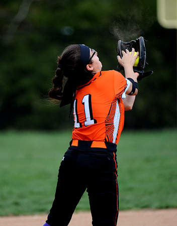 5/3/2018 Mike Orazzi | Staff Terryville's Allie Michaud (11) during Thursday's softball game with Wamogo in Plymouth.