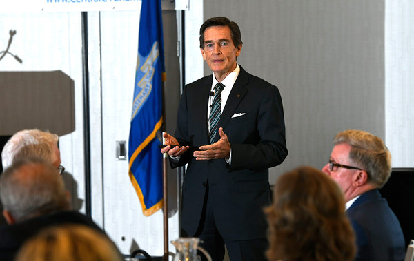 5/3/2018 Mike Orazzi | Staff Jim Smith, Co-Chair Connecticut Commission on Fiscal Stability and Economic Growth address members of of the Central Connecticut Chambers of Commerce at the DoubleTree by Hilton Hotel Bristol in Bristol Thursday morning.