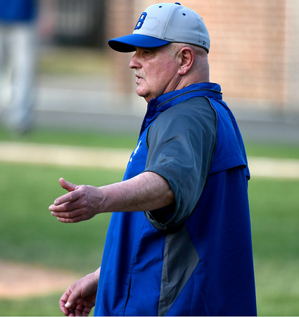 5/2/2018 Mike Orazzi | Staff Bristol Eastern baseball coach Mike Giovinazzo during Wednesday's baseball game with Bristol Central at Muzzy Field.