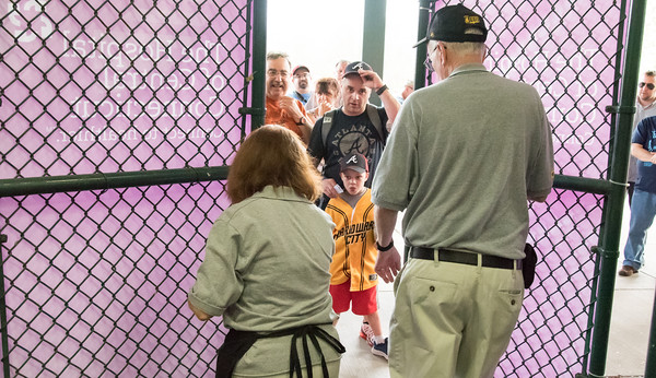 05/04/18 Wesley Bunnell | Staff The gates open up for the first time in the 2018 season at New Britain Stadium with fans Kam Allyn, age 6, and dad Zach waiting first in line. The New Britain Bees held opening night at New Britain Stadium on Friday night against the Road Warriors.