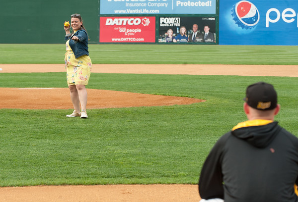 05/04/18 Wesley Bunnell | Staff New Britain Mayor Erin Stewart throws out the first pitch of the 2018 season on Friday night for the New Britain Bees at New Britain Stadium prior to their game versus the Road Warriors.