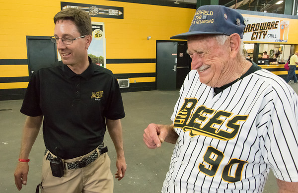 05/04/18 Wesley Bunnell | Staff General Manager Brad Smith, L, stands with long time New Britain fan and ticket holder Al Nelson. The New Britain Bees held opening night at New Britain Stadium on Friday night against the Road Warriors.