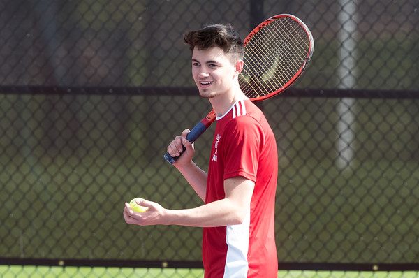 05/08/18 Wesley Bunnell | Staff Berlin boys tennis hosted New Britain on Tuesday afternoon at Berlin High School. Berlin's Noah Mihalko is ready to serve in his doubles match with teammate Stephen Jendreau vs New Britain's Jose Garcia and Saul Rodriguez.