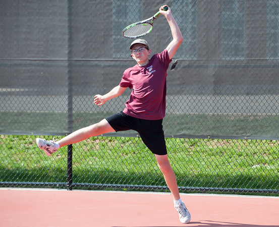 05/08/18 Wesley Bunnell | Staff Berlin boys tennis hosted New Britain on Tuesday afternoon at Berlin High School. New Britain's Seagan Foster against Berlin's Thomas Fijalkowski.
