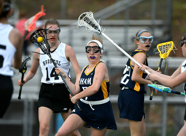 5/8/2018 Mike Orazzi | Staff RHAM's Jules Turo (7) during girls lacrosse at BEHS Tuesday.