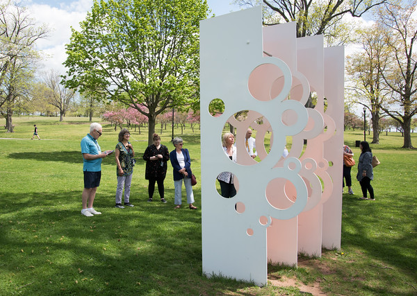 05/08/18 Wesley Bunnell | Staff New Britain Museum of American Art docent Luc Ouellette led a guided tour of the artwork on the grounds of the museum including Walnut Hill Park on Tuesday afternoon.