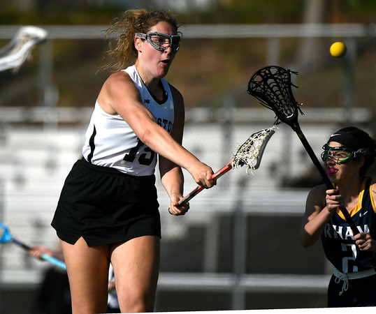 5/8/2018 Mike Orazzi | Staff Bristol Co-Op Lacrosse's Alexis Lape (15) during girls lacrosse at BEHS Tuesday.