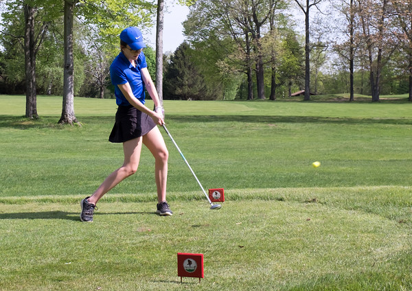 05/09/18 Wesley Bunnell | Staff Berlin girls golf vs New Britain on Wednesday afternoon at Timberlin Golf Course in Berlin. Berlin's Bridget McQuillan on the tee.