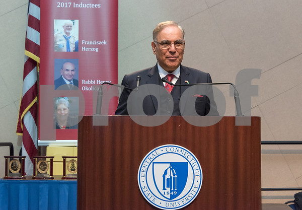 11/4/17 Wesley Bunnell | Staff The Immigrant Heritage Hall of Fame inducted 6 members on Saturday evening at Alumni Hall at CCSU. Inductee The Honorable Mohammad Nawaz Wahla gives the keynote address.