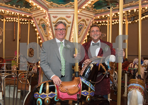 11/4/17 Wesley Bunnell | Staff The 2017 ACE awards took place Saturday evening at the New England Carousel Museum. Recipient Greg Hahn, L, and Craig Yard.