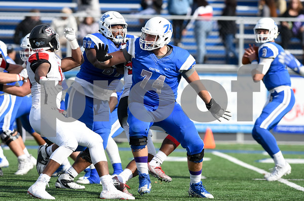 11/4/17 Wesley Bunnell | Staff CCSU football defeated St. Francis 28-10 in a home game at Arute Field. OL Connor Mignone (74).