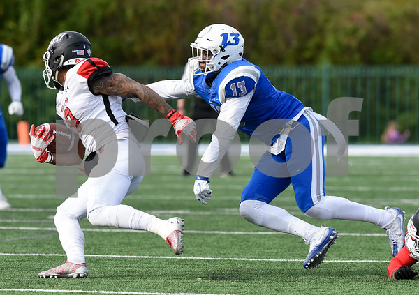 11/4/17 Wesley Bunnell | Staff CCSU football defeated St. Francis 28-10 in a home game at Arute Field. S Najae Brown (13).