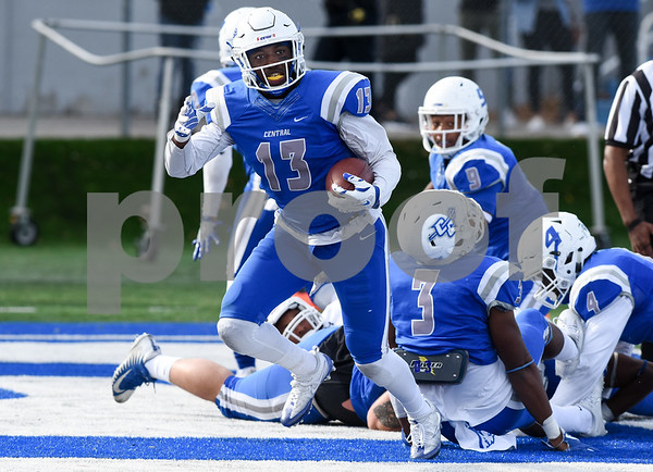 11/4/17 Wesley Bunnell | Staff CCSU football defeated St. Francis 28-10 in a home game at Arute Field. S Najae Brown (13) with a fumble recovery for a touchdown.