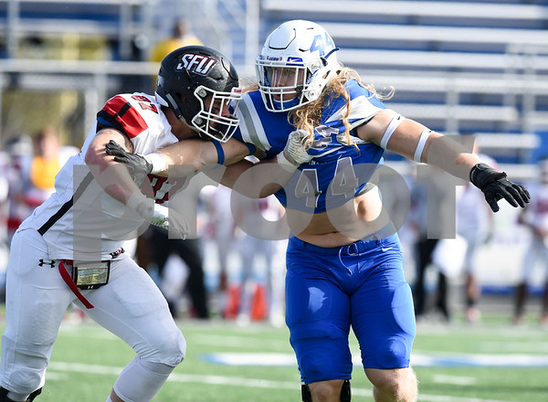 11/4/17 Wesley Bunnell | Staff CCSU football defeated St. Francis 28-10 in a home game at Arute Field. OLB Seth Manzanares (44).