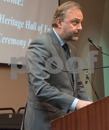 11/4/17 Wesley Bunnell | Staff The Immigrant Heritage Hall of Fame inducted 6 members on Saturday evening at Alumni Hall at CCSU. Polish Consul General Maciej Golubiewski.