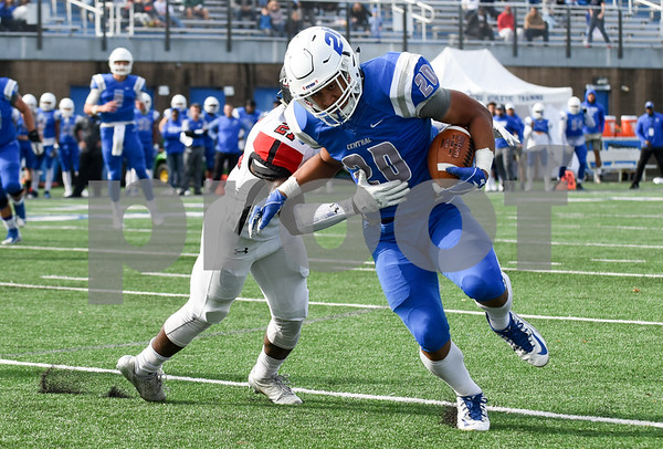 11/4/17 Wesley Bunnell | Staff CCSU football defeated St. Francis 28-10 in a home game at Arute Field. RB Drew Jean-Guillaume (20) with a touchdown run.