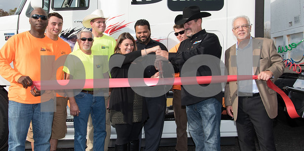 11/3/17 Wesley Bunnell | Staff AB CDL Driver Training School held a ribbon cutting on Friday afternoon celebrating their new location at 221 South St. Student Walter Reed, L, student Chase Cook, Waterford Campus Director Donald Brigham, instructor Ian Ureles, Mayor Erin Stewart, New Britain Campus Director Edgardo Cruz, student Joe Camperchioli, owner Thomas Moysey and Economic Development Director Bill Carroll.