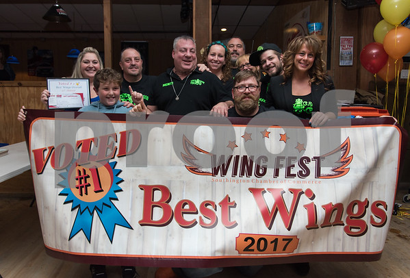 11/6/17 Wesley Bunnell | Staff The Southington Chamber of Commerce held their 12th annual Wing Fest on Monday evening at The Cadillac Ranch. The Groggy Frog were winners with the best wings of the fest.