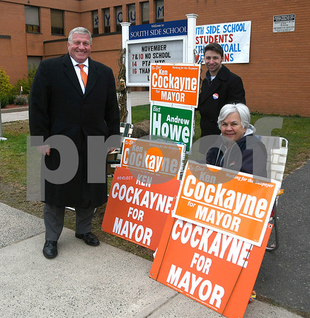 11/7/2017 Mike Orazzi | Staff Bristol Mayor Ken Cockayne with Dante Tagariello and Lorenza LaRose at the South Side School before voted Tuesday.