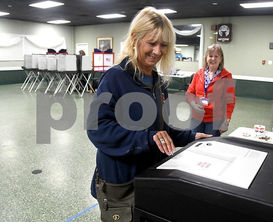 11/7/2017 Mike Orazzi | Staff Nadine Johnson while voting at the Elks Club in Bristol Tuesday.
