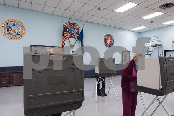 11/7/17 Wesley Bunnell | Staff Voters at the VFW polling location in New Britain on Tuesday morning.