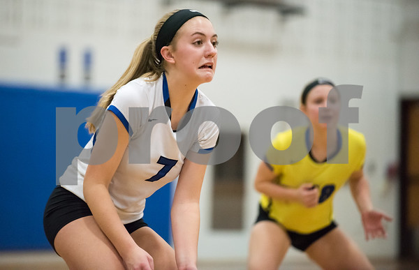 11/1/17 Wesley Bunnell | Staff Southington girls volleyball defeated Platt Tech on Wednesday night at Southington High School. Haley Larrabee (7) grimaces and she watches the play.