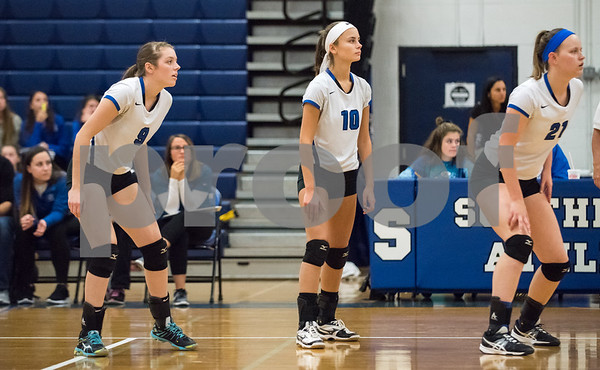 11/1/17 Wesley Bunnell | Staff Southington girls volleyball defeated Platt Tech on Wednesday night at Southington High School. Sarah Mynick (9), Jenna Martin (10) and Katherine Gundersen (21).