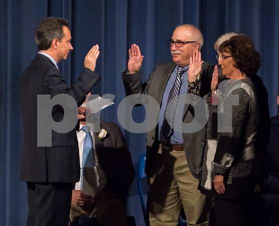 11/13/17 Wesley Bunnell | Staff The City of Bristol held their 2017 Inaugural on Monday evening at Bristol Eastern High School. The Board of Assessment Appeals, Thomas Regaini, Mary Alford & Shirley Salvatore with the oath administered by Dean Kilbourne.