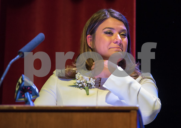 11/14/17 Wesley Bunnell | Staff The inauguration of Mayor Erin E. Stewart and other elected officials was held on Tuesday morning at New Britain High School. Mayor Erin E. Stewart gets choked up while giving her remarks after the official swearing in ceremony.