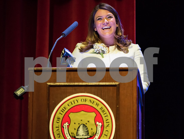 11/14/17 Wesley Bunnell | Staff The inauguration of Mayor Erin E. Stewart and other elected officials was held on Tuesday morning at New Britain High School. Mayor Erin E. Stewart gives her remarks after the official swearing in ceremony.