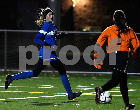 11/14/2017 Mike Orazzi | Staff St. Paul's Briana Kendall Davis (10) against Old Lyme during the Class S Semifinals Girls Soccer at Falcon Field in Meriden Tuesday night.