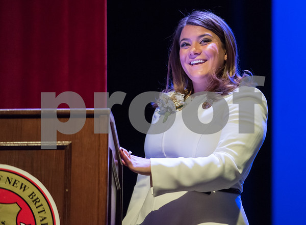 11/14/17 Wesley Bunnell | Staff The inauguration of Mayor Erin E. Stewart and other elected officials was held on Tuesday morning at New Britain High School. Mayor Erin E. Stewart looks out at the crowd after being sworn in as the city's 40th mayor.