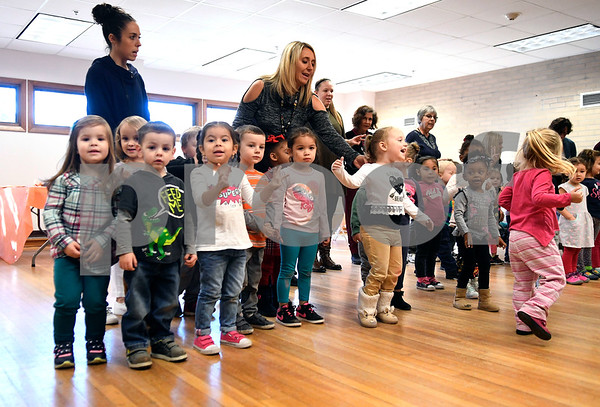 11/15/2017 Mike Orazzi | Staff Bristol Board of Education pre-school students sing to seniors at the Bristol Senior Center as part of their Thanksgiving Day celebration Wednesday.