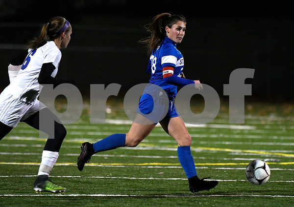 11/14/2017 Mike Orazzi | Staff St. Paul's Briana Senese (38) during the Class S Semifinals Girls Soccer at Falcon Field in Meriden Tuesday night.