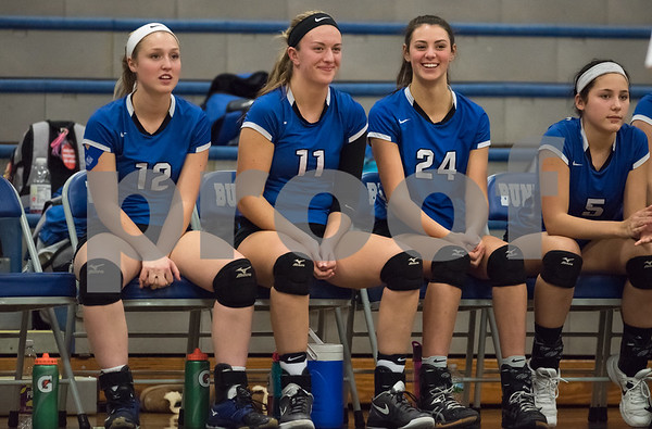 11/15/17 Wesley Bunnell | Staff Southington girls volleyball vs Greenwich in a semi final match played at Bunnell High School in Stratford. Julia Wells (12), Hannah Zelina (11) and Rachel Possidento (24).