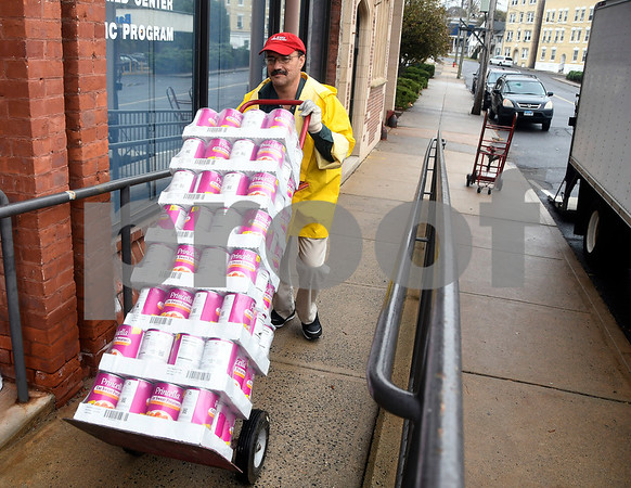 11/16/2017 Mike Orazzi | Staff Bristol Hospitals Lou Therrien while unloading food for area needy at the Bristol Hospital WIC Program on Prospect Street Thursday morning. Staff assembled Thanksgiving food packages for local families courtesy of donations from the Bristol Hospital Medical Staff.