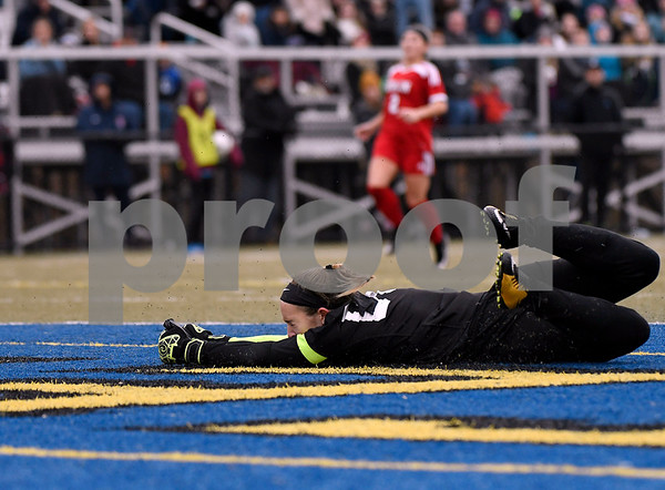 11/18/2017 Mike Orazzi | Staff Berlin's Lindsay Walsh (00) during the Class M Final at Municipal Stadium in Waterbury Saturday. Granby won 3-0.